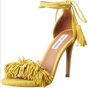 Steve Madden Sassey Suede Fringed Yellow Heels